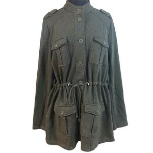Torrid Green French Terry Military Jacket Sz 2/2X